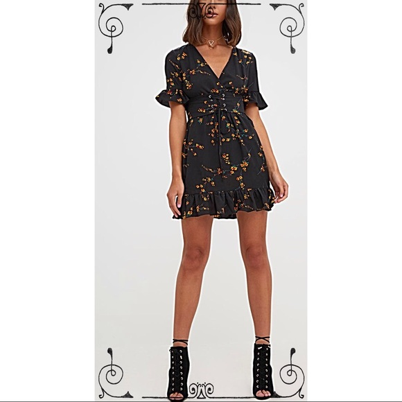fd1ae8fb46b3 BLACK FLORAL CORSET SWING DRESS